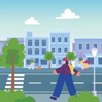 persone che camminano per strada urbana, camminano con cane e smartphone vettore
