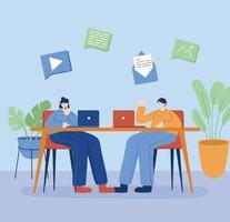 donna e uomo con il computer portatile sul disegno vettoriale scrivania