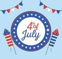 Giorno di indipendenza fuochi d'artificio sigillo timbro disegno vettoriale
