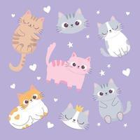 simpatici gatti amano cuori teste cartone animato animale divertente personaggio sfondo vettore
