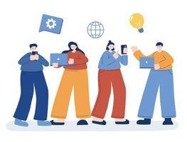 uomini e donne con icona digitale set disegno vettoriale