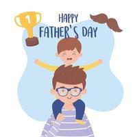 padre con figlio il disegno vettoriale di giorno di padri