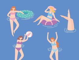 donne che nuotano in costume da bagno, sdraiato su un gonfiabile galleggiante, giocando a palla vettore