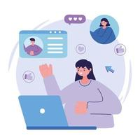 giovane donna con laptop persone in chat design vettore