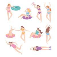 persone vestite in costume da bagno che si rilassano e galleggiano sul gonfiabile con la palla vettore