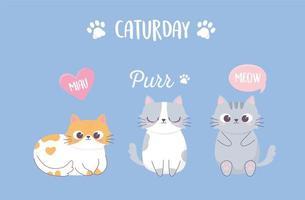simpatici gatti zampa bolle frase cartone animato animale divertente personaggio vettore