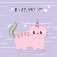 simpatico gatto rosa con corno e coda personaggio divertente animale dei cartoni animati vettore