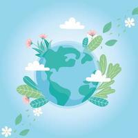 mondo di ecologia con fiori foglie nuvole salva pianeta proteggere la natura e il concetto di ecologia vettore