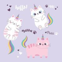 simpatici gatti arcobaleno e corna adorabili animali dei cartoni animati personaggio divertente vettore