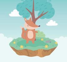 carino volpe animale cartone animato prato in piedi albero e fiori natura vettore