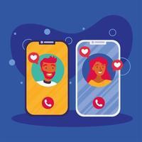 avatar di donna e uomo sullo smartphone nel disegno vettoriale di chat video