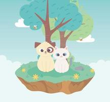 simpatico cane e gatto animali domestici cartone animato prato in piedi albero e fiori natura vettore