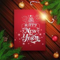 felice anno nuovo, cartolina verticale rossa con bellissime scritte a forma di albero di natale vettore