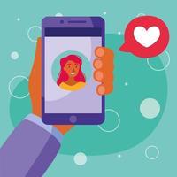 avatar donna sullo smartphone in chat video con disegno vettoriale bolla