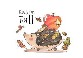 Simpatico riccio a piedi con foglie di autunno, funghi e mela rossa