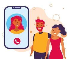 avatar donna sullo smartphone in chat video e disegno vettoriale di coppia