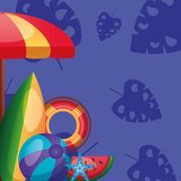 disegno vettoriale ombrello, tavola da surf, galleggiante e palla