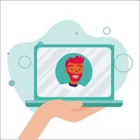 uomo avatar sul computer portatile nel disegno vettoriale di chat video