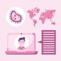medico femminile in linea sulla bolla del computer portatile e sul disegno vettoriale della mappa