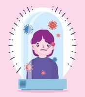 pandemia di coronavirus covid 19, quarantena con paziente malato vettore