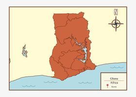 Vettore dell'illustrazione della mappa del Ghana