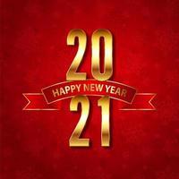 elegante sfondo felice anno nuovo con numeri d'oro e design a nastro
