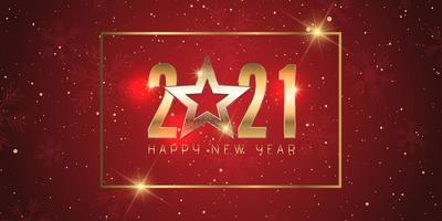 design di banner oro e rosso felice anno nuovo