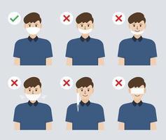 illustrazione del modo sbagliato e corretto di indossare una maschera facciale per prevenire la diffusione del coronavirus vettore