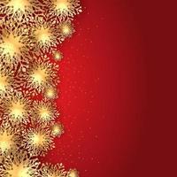 sfondo dorato di fiocchi di neve di Natale