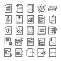 set di icone di contorno di documenti vettore