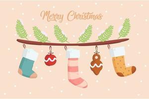 illustrazione di calzino di Natale vettore