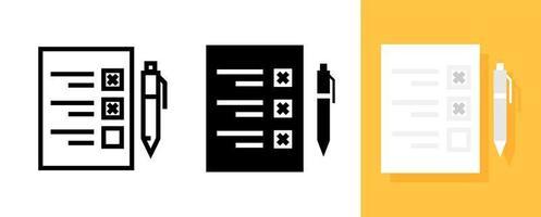 icona piana del documento del sondaggio o della lista di controllo con il simbolo della penna, il vettore e l'illustrazione.
