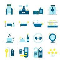 collezione di icone di servizio hotel e ostello vettore