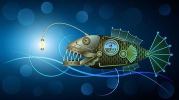 pesce meccanico in metallo dorato sott'acqua, stile steampunk vettore