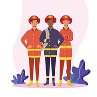 vigili del fuoco uomini lavoratori disegno vettoriale