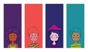 persone diverse progettano cartoni animati di ragazzi e ragazze