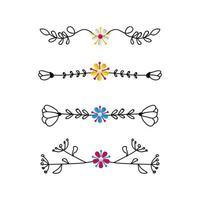 set di ornamento divisori disegno vettoriale su sfondo bianco