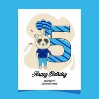 5 ° carta di invito festa di compleanno con disegno del personaggio del panda animale del bambino del fumetto