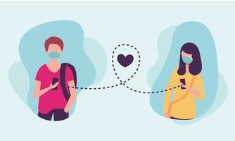 distanza sociale tra ragazzo e ragazza con maschere e disegno vettoriale smartphone