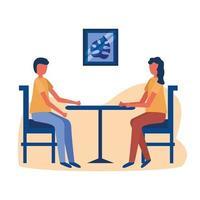 donna e uomo sul tavolo a casa disegno vettoriale