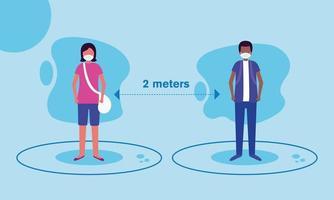 distanza sociale tra ragazzo e ragazza con disegno vettoriale maschere
