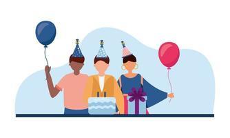 uomini e donne con disegno vettoriale torta e regalo