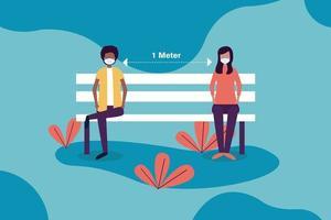 distanza sociale tra ragazzo e ragazza con maschere su disegno vettoriale panchina