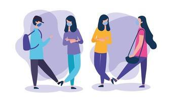 ragazze della scuola e ragazzo con disegno vettoriale maschere mediche