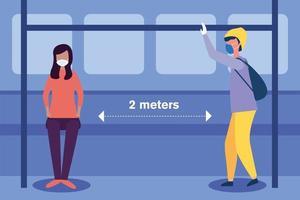 distanza sociale tra ragazzo e ragazza con maschere al disegno vettoriale della stazione degli autobus