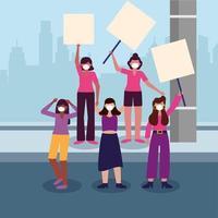 donne con maschere mediche e pannelli di banner al disegno vettoriale di città