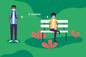 distanza sociale tra ragazzi con maschere al disegno vettoriale parco