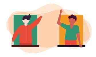 avatar di uomini al disegno vettoriale di finestra