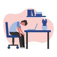 uomo stanco sul disegno vettoriale scrivania