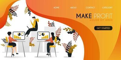 gruppo di persone che stanno lavorando per aumentare i profitti e l'economia nel concetto di illustrazione vettoriale di affari e società, può essere utilizzato per la presentazione, il web, banner ui ux, pagina di destinazione